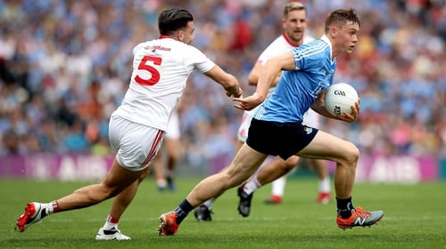 Dublin's Con O'Callaghan and Tiernan McCann of Tyrone in action during last year's semi-final