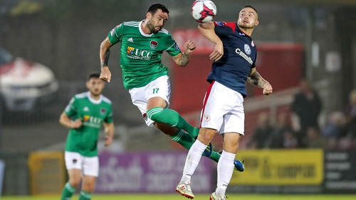 Cork City's Damien Delaney and Mickey Drennan of Sligo Rovers