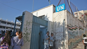 Children return to school at an establishment run by the United Nations Agency for Palestinian Refugees (UNRWA)