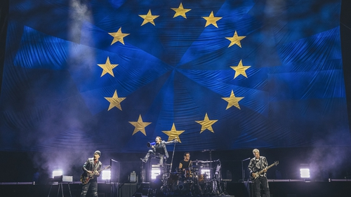 U2 at the Mercedes-Benz Arena in Berlin on Friday night Photo: Danny North