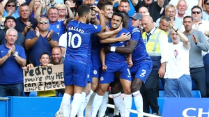 Chelsea player celebrate Pedro's opening goal at Stamford Bridge