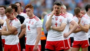 Tyrone players show their disappointment after the final