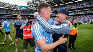 Jim Gavin celebrates with Brian Howard after the final whistle