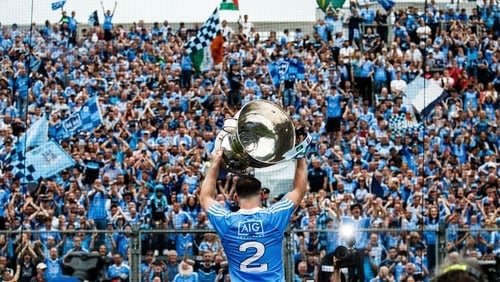 Philly McMahon salutes the Hill with the Sam Maguire trophy