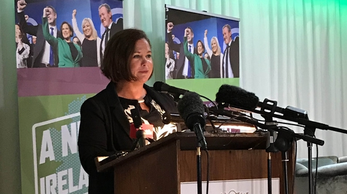 Mary Lou McDonald addressing Sinn Féin members in Cavan yesterday