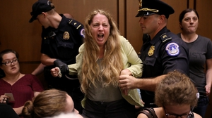 One of the protesters who disrupted the confirmation hearing for Judge Brett Kavanaugh