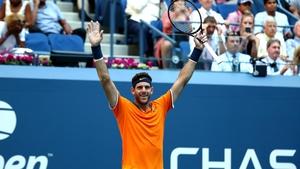 Juan Martin del Potro celebrates his quarter-final victory over John Isner in the US Open quarter-finals