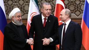 Iran's President Hassan Rouhani, Turkey's President Recep Tayyip Erdogan and Russia's President Vladimir Putin