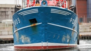 A view of the bow of Honeybourne III, a Scottish scallop dredger, following clashes with French fishermen