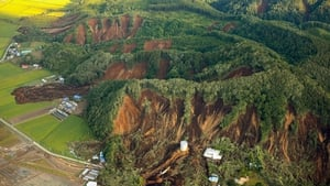 Aerial pictures show landslides exposing barren hillsides in southern Hokkaido