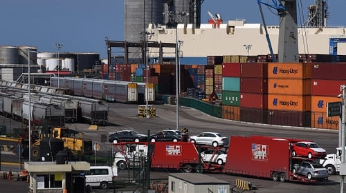 The US trade gap shrunk by nearly $10 billion as exports fell by 0.1% and imports dropped 0.4%