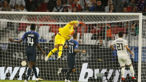 French goalkeeper Alphonse Areola makes a save during the UEFA Nations League football match Germany