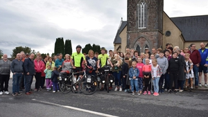 People in Kilmeaden welcome home the cyclists (Pic: Arthur and Jordan Curry)