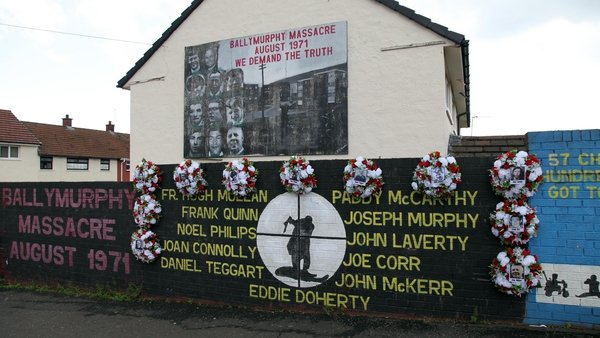 A mural on a wall in west Belfast with the names of those killed in Ballymurphy