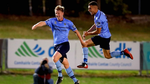 UCD's Timmy Molloy celebrates scoring their second goal of the game