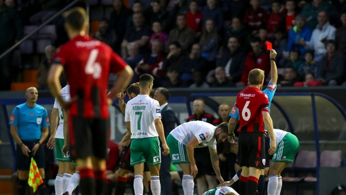 Longford Town's Darren Meenan receiving a red card