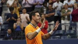 Juan Martin del Potro of Argentina salutes the crowd after Rafael Nadal was forced to retire with an injury