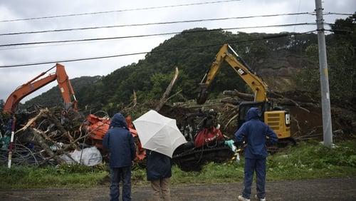 Earthquake triggered landslides in Atsuma