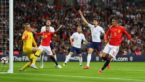 Rodrigo scores what proved to be the winning goal