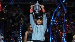 Naomi Osaka celebrates her victory