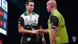 Willie O'Connor shakes hand with Michael van Gerwen