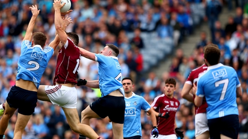 Damien Comer in action against Dublin