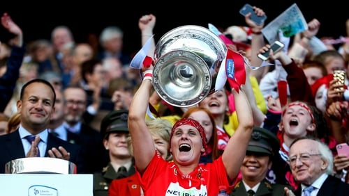 Cork's captain Aoife Murray lifts the O'Duffy Cup