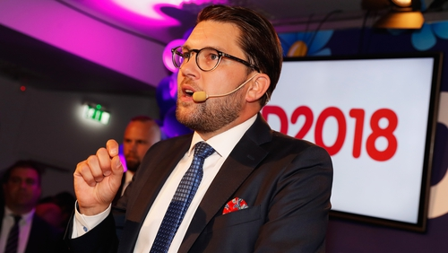 Leader of the far-right Sweden Democrats Jimmy Akesson addresses members and supporters in Stockholm this evening