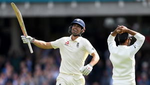 Alastair Cook celebrates his 33rd Test century in his final innings
