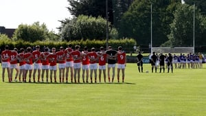 Louth stand for the National Anthem at the Gaelic Grounds ahead of their football qualifier against Longford last year