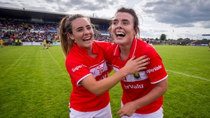 Doireann O'Sullivan pictured with Orlagh Farmer after reaching the final
