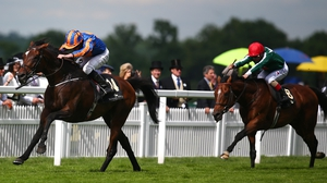 Ryan Moore riding Order of St George (L) to victory in the 2016 Ascot Gold Cup