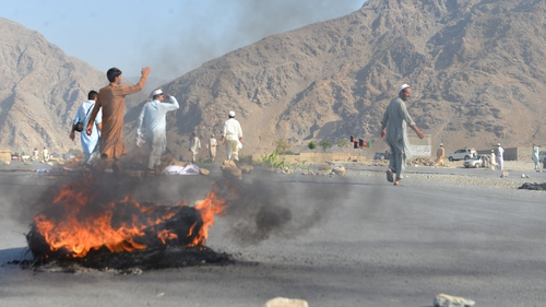 Suicide bomber set off explosives in a crowd of hundreds of people protesting on a main road