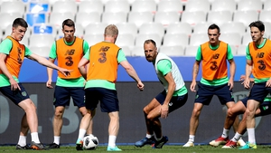 The Ireland squad training ahead of the recent friendly in Poland
