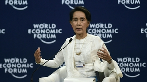 Myanmar's de facto leader Aung San Suu Kyi also defended a court decision to jail two Reuters reporters
