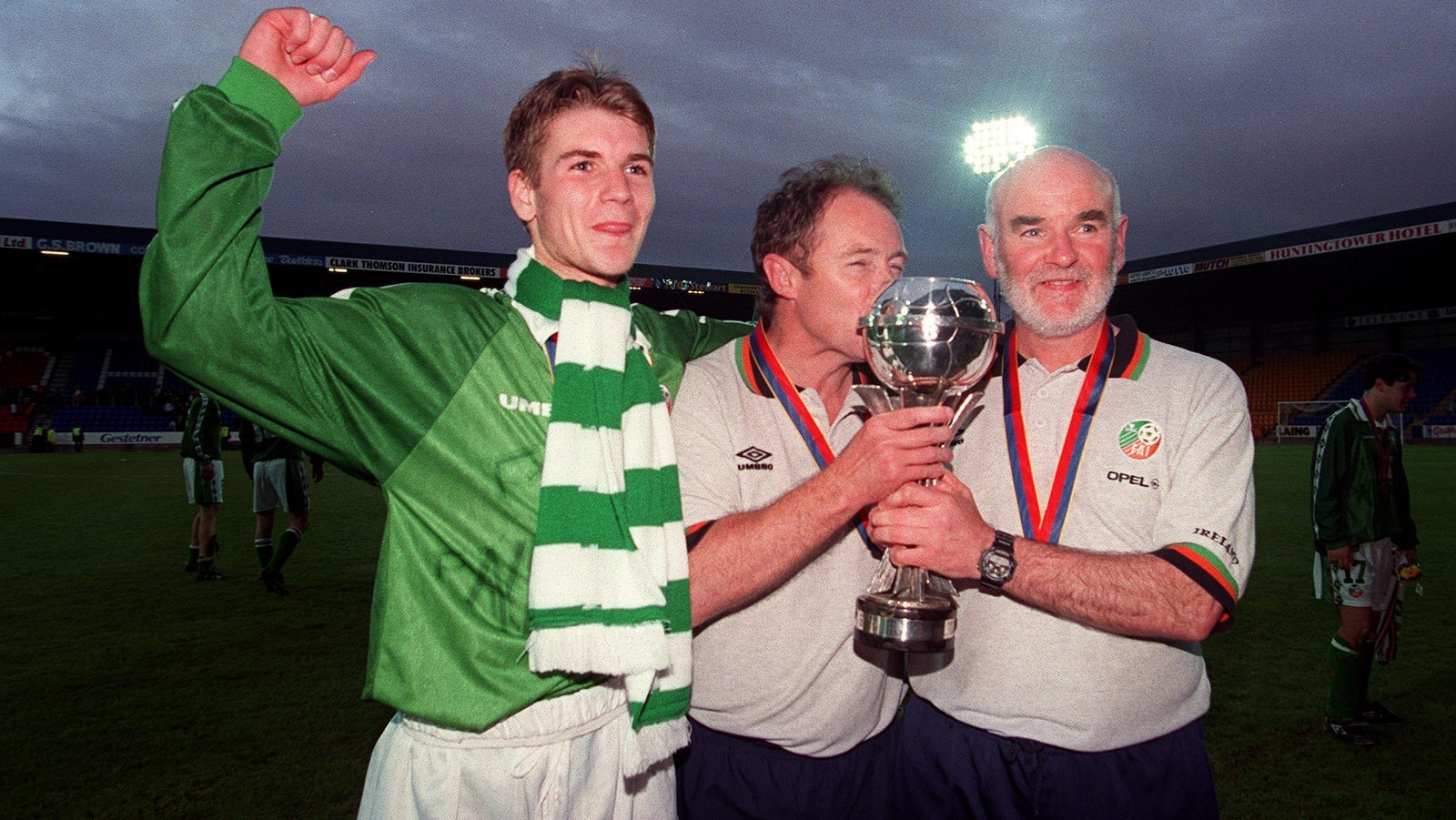 Image - Shaun Byrne, Brian Kerr and Noel O'Reilly celebrate victory over Italy