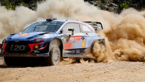 Thierry Neuville and Nicolas Gilsoul of Hyundai Shell Mobis in action at the Rally of Turkey