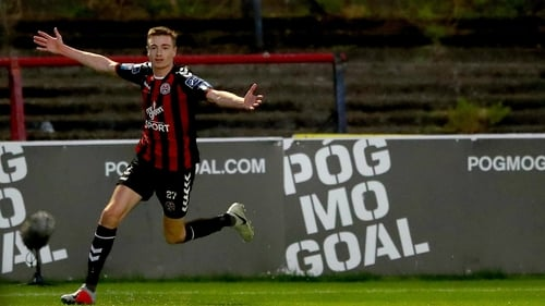 Daniel Kelly celebrating one of the goals he scored for Bohemians last term