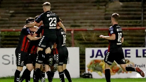 Bohs players celebrate Derek Pender's goal as they make it six wins on the bounce in the league