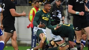 Aphiwe Dyantyi celebrates for South Africa