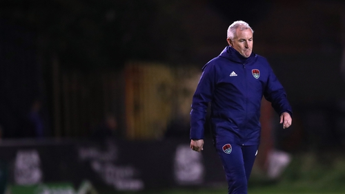 John Caulfield walking towards supporters after full-time last night