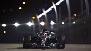 The Mercedes on track at the Marina Bay Street Circuit