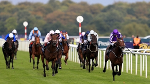 Jockey Ryan Moore rode Kew Gardens to victory in the St. Leger at Doncaster