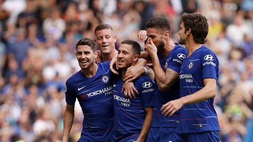 Eden Hazard celebrates Chelsea FC hat-trick in dressing room