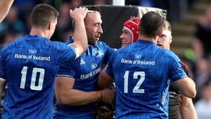 Leinster's Josh van der Flier celebrates his try with Jack Conan, Johnny Sexton and Robbie Henshaw
