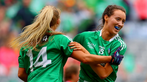 Mairead Kavanagh celebrates with Catriona Davis