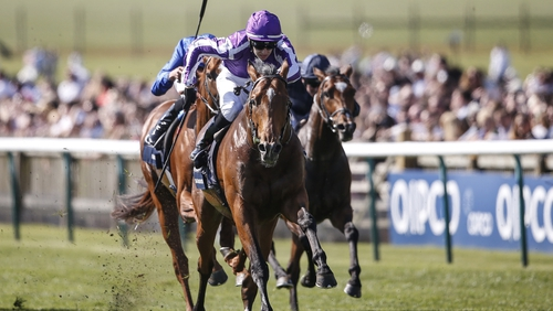 Saxon Warrior winning the 2000 Guineas at Newmarket in May