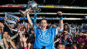 Dublin's Lyndsey Davey celebrates with the Brendan Martin Cup