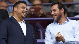 Ronaldo (L) watched Valladolid  fall to a late defeat