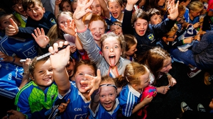 Young Dublin supporters in Malahide to salute the All-Ireland champions